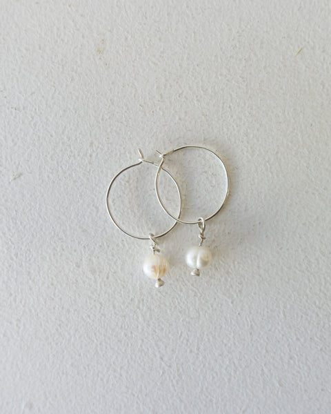 Mini Pearl Hoops - Sterling Silver