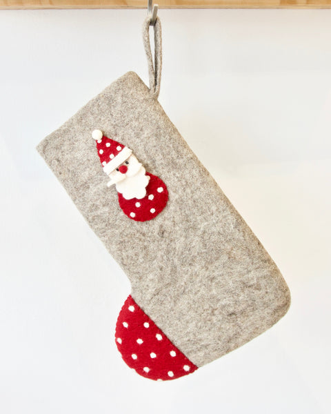 Santa Christmas stocking - natural