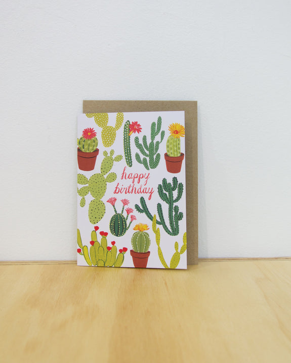 Happy Birthday Card - Cacti