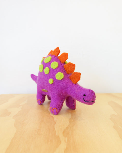 Purple dinosaur felt toy