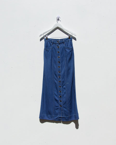 Vintage Button Down Denim Skirt #0028