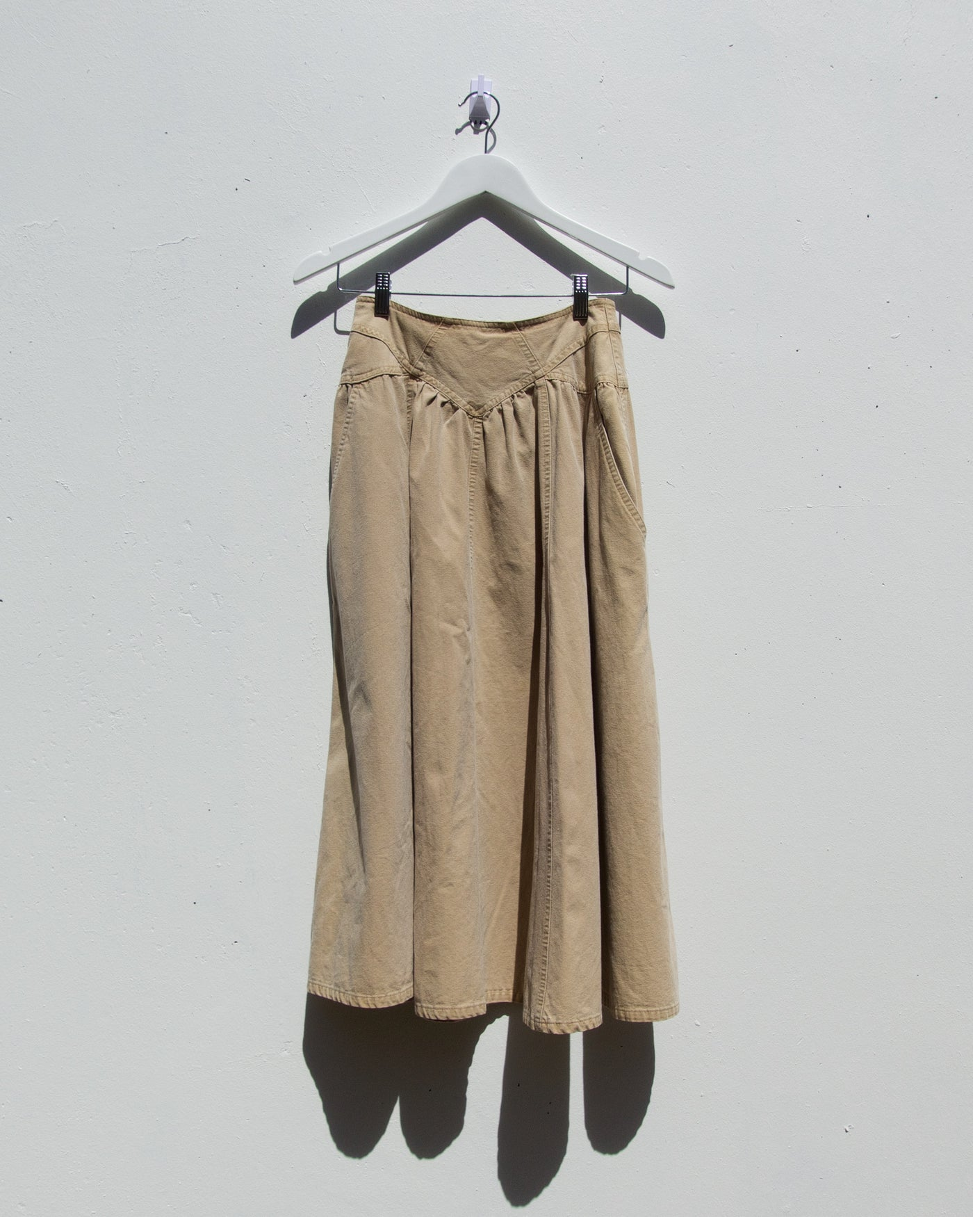Vintage Denim Tan Circle Skirt - Size 6-8