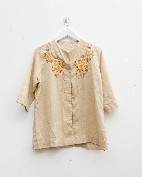 Vintage Handmade Embroidered Linen Jacket - Size 6-10