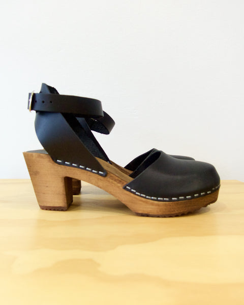 Ester Clog High - Black With Brown Base - LAST SIZES (36, 37 & 41)!