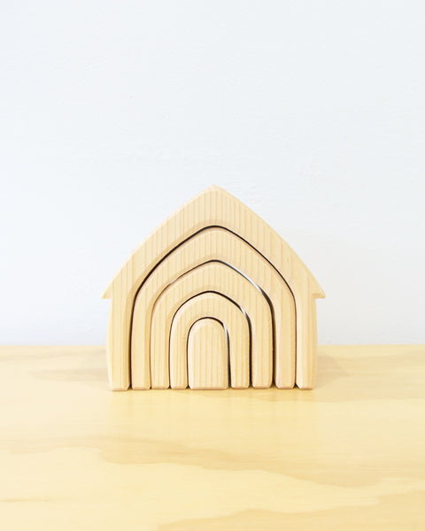 Stacking Wooden House - Natural