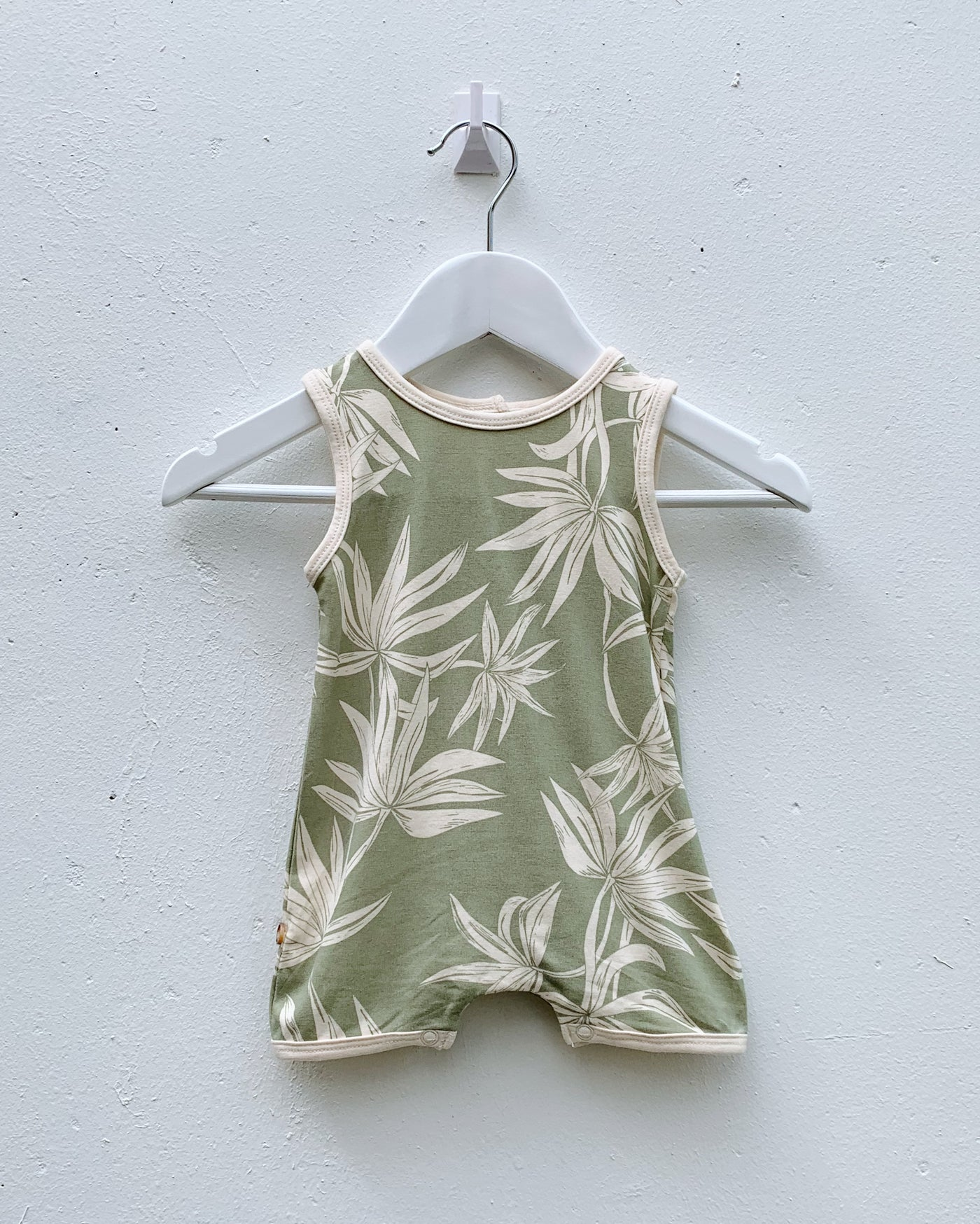 Bamboo Palm Playsuit - Sage - LAST SIZE (0-3m)!