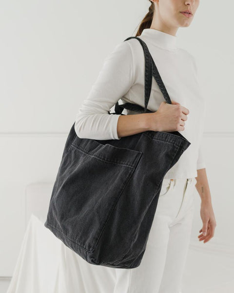 Giant Pocket Tote - Washed Black Denim