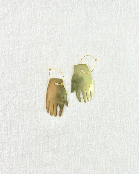 Brass Hand Earrings - Small
