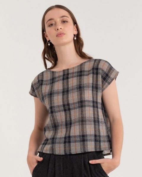 Shell Tee - Charcoal Check - LAST SIZE (6)!