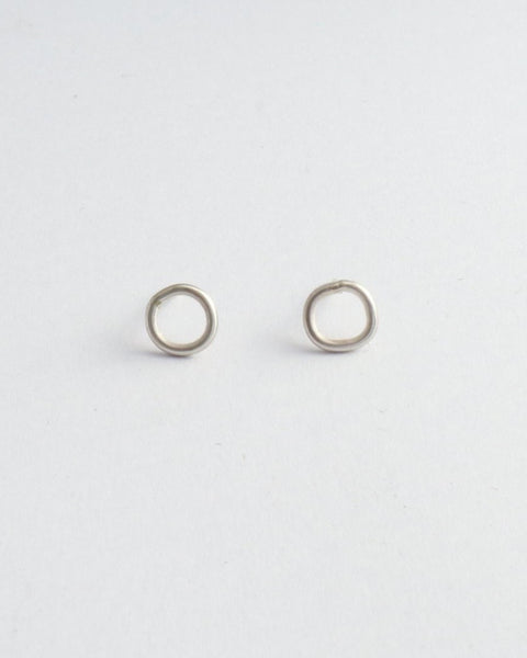 Mini Circle Wire Studs - Sterling Silver