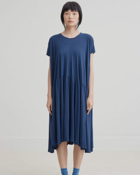 Gather Dress - Navy