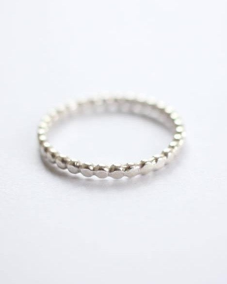 Hammered Bubble Wire Ring - Sterling Silver