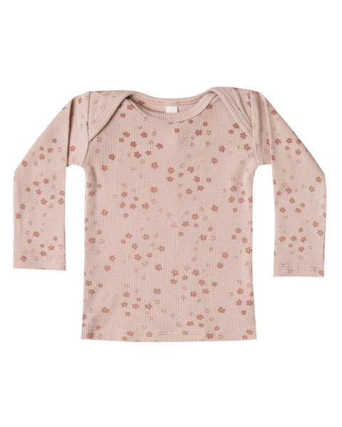 Ribbed Lap Tee - Rose - LAST ONE (0-3M)!
