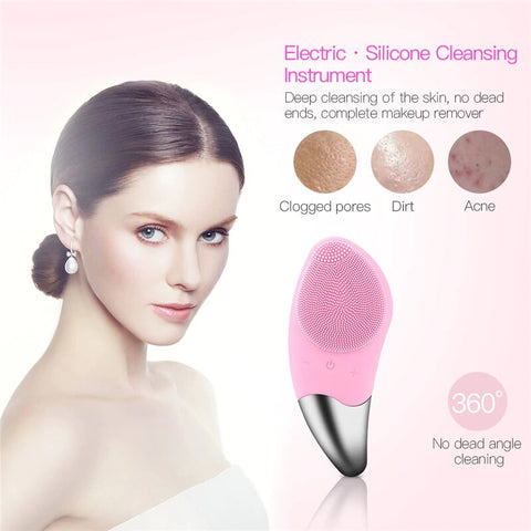 Facial Cleansing Brush Sonic Vibration Silicone Face Cleaner Remove Blackhead Electric Deep Pore Cleaning waterproof Massager PeekWise