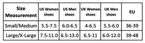 Anti-Fatigue Compression Socks Size Guide