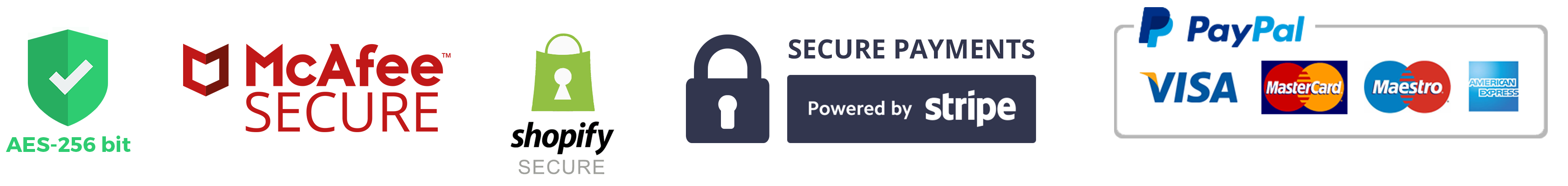 AES-256 bit, McAfee Secure, Shopify Secure, Secure Payments - Powered by Stripe, PayPal