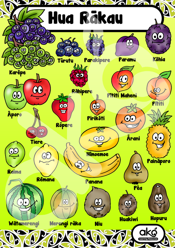 Hua Rākau - Fruits A3 Learning Poster