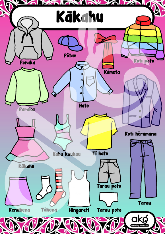 Kākahu - Clothing A3 Learning Poster