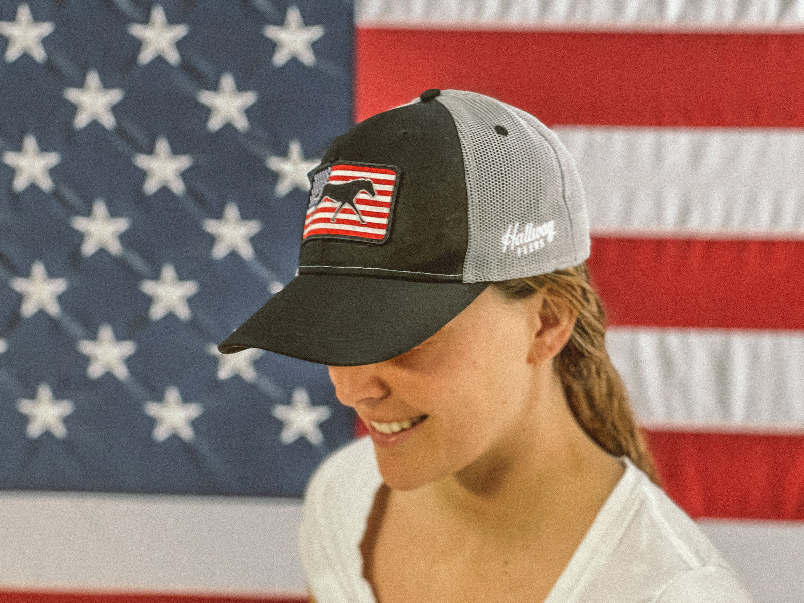 American Flag Patch Hat - Black