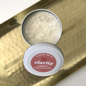 CLARITY Clear Quartz Crystal Infused Candle - Spiced Chai Scented