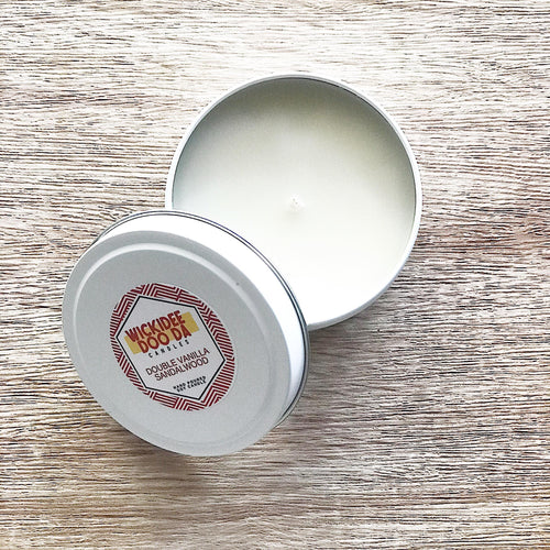 Double Vanilla & Sandalwood Soy Candle | Small Tin