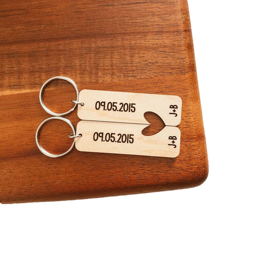 Set of Two Dates and Initials Keychains