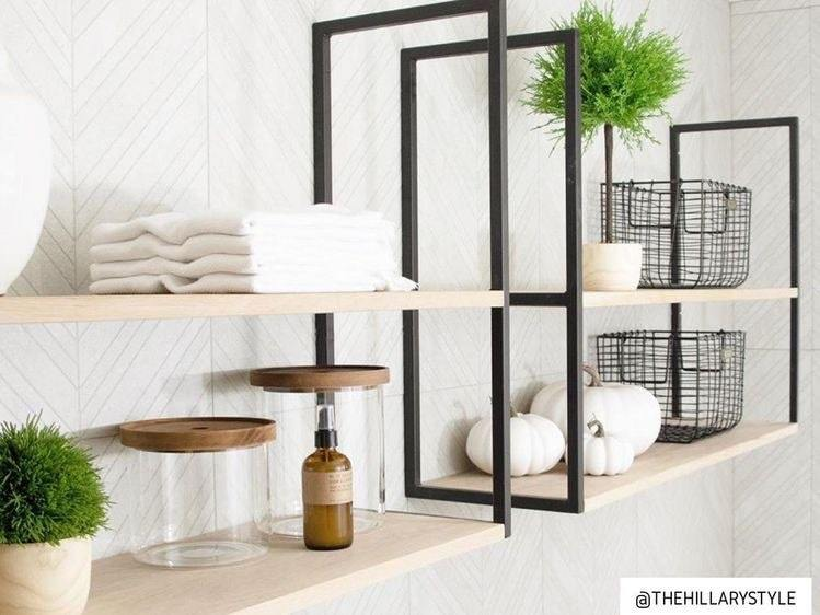 Wall Mounted Square Framed Iron Metal Steel Shelf Shelving Brackets by Iron Abode