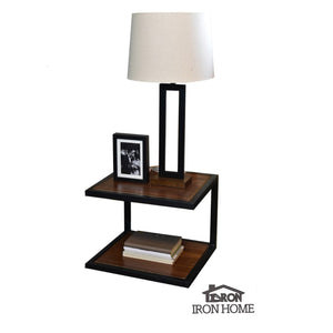 Floating Iron and Walnut Nightstand