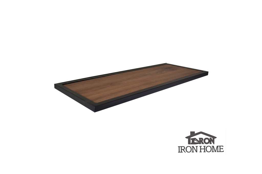 Iron Framed Wood Floating Shelf, Metal Walnut, Steel White Oak Shelves