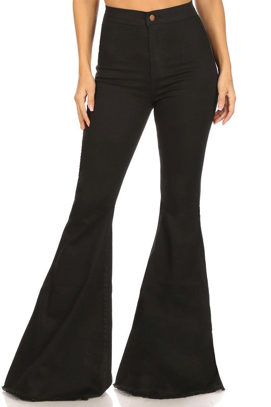 Black High Rise Denim Flare Jeans, Black Bell Bottom Jeans