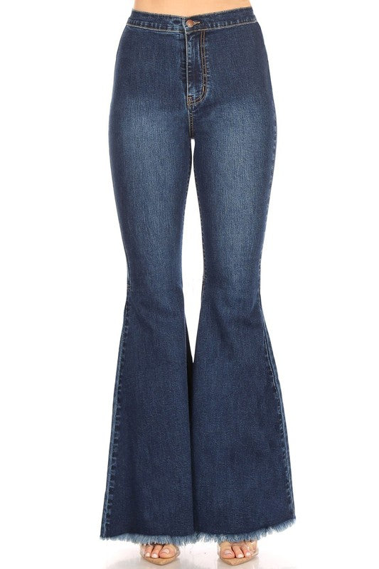 High Rise Denim Flare Jeans, Dark Wash Bell Bottoms