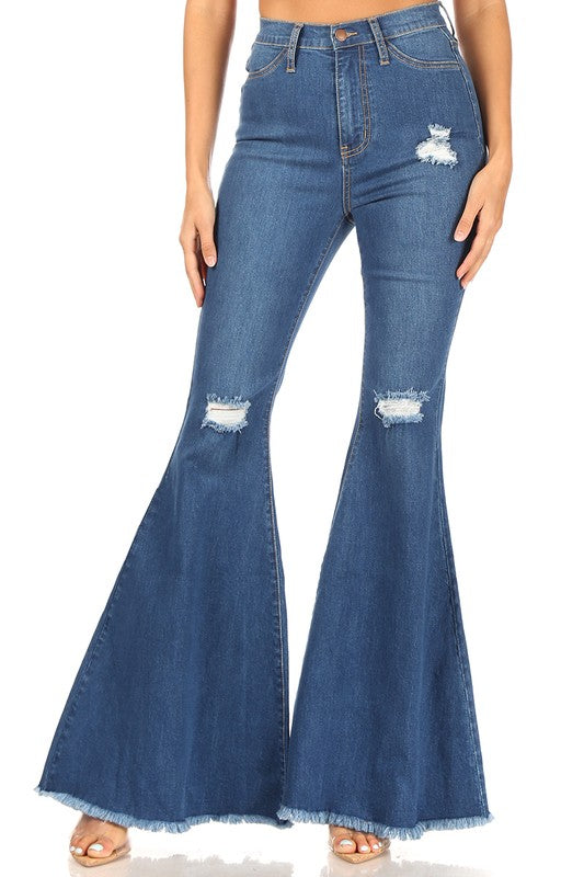 Distressed High Rise Denim Flares, Denim Bell Bottom Jeans