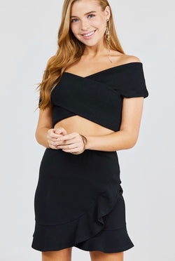 Black OTS Rib Knit Crop Top - Mimosas With Maria Boutique