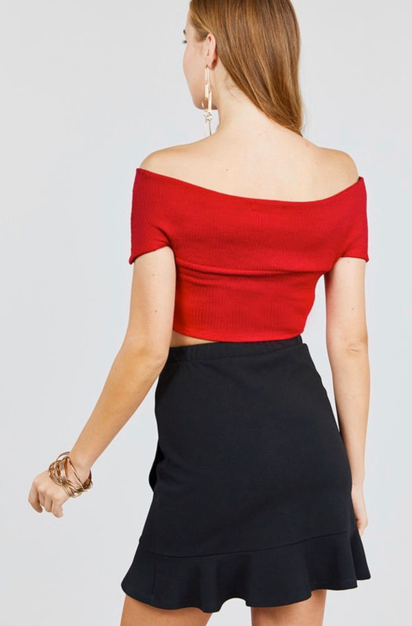 Red OTS Rib Knit Crop Top - Mimosas With Maria Boutique