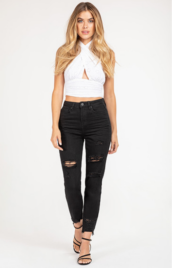 Quinn Distressed Jeans - Black