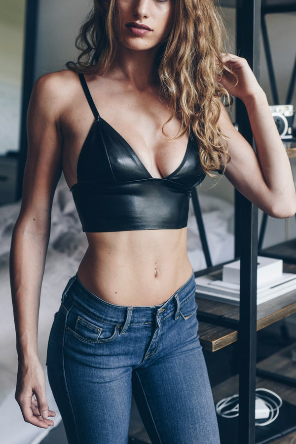 Faux Leather Bralette - Mimosas With Maria Boutique