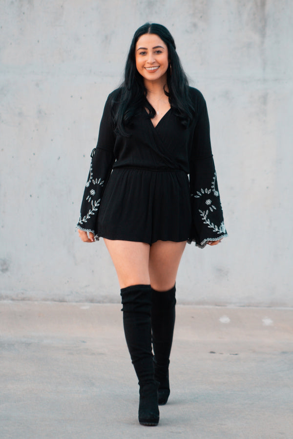Blooming in the Night Bell Sleeve Romper