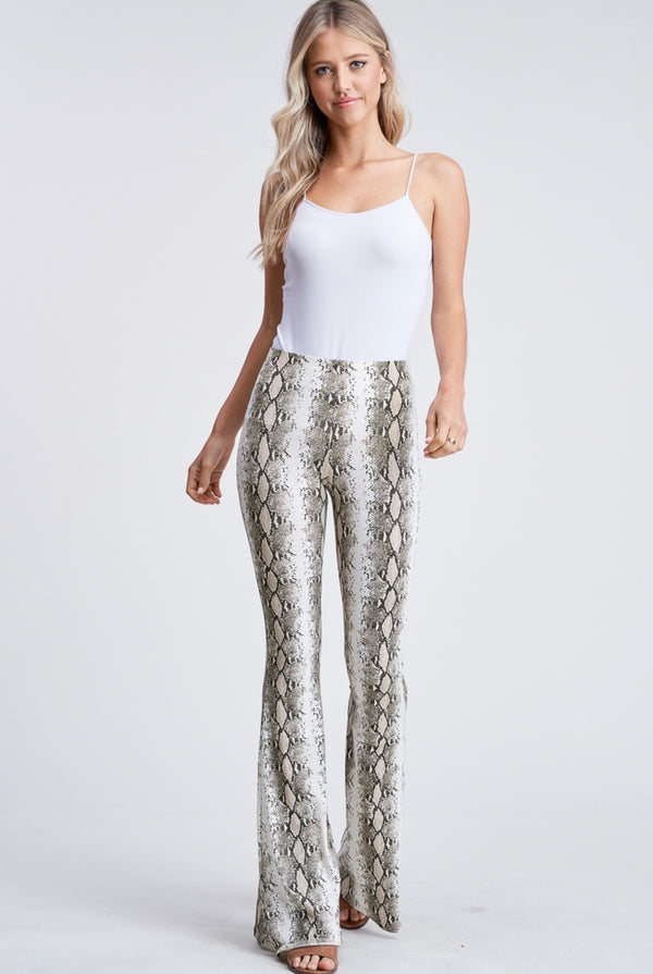Audri Snake Print Flare Leggings - Mimosas With Maria Boutique