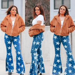 High Waisted Denim Star Flares - Mimosas With Maria Boutique