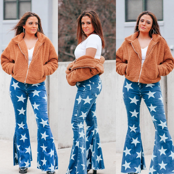 High Waisted Denim Star Flares