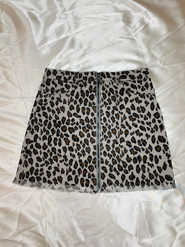 Cynthia Leopard Skirt - Grey