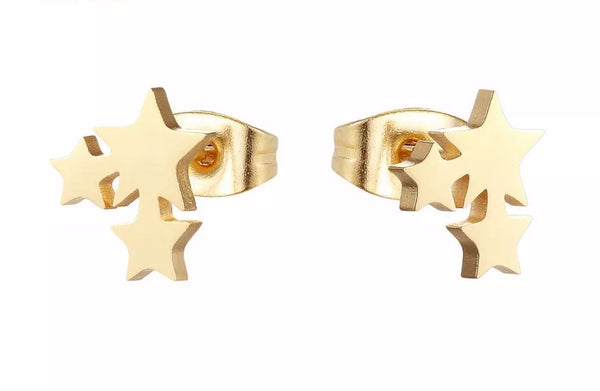 Dainty Triple Star Stud Earrings - Gold
