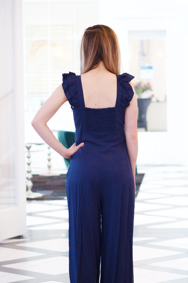 Tied Up In You Jumpsuit - Navy