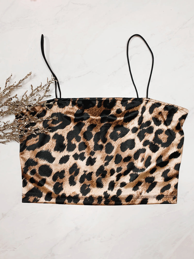 Satin Leopard Print Crop Top - Mimosas With Maria Boutique