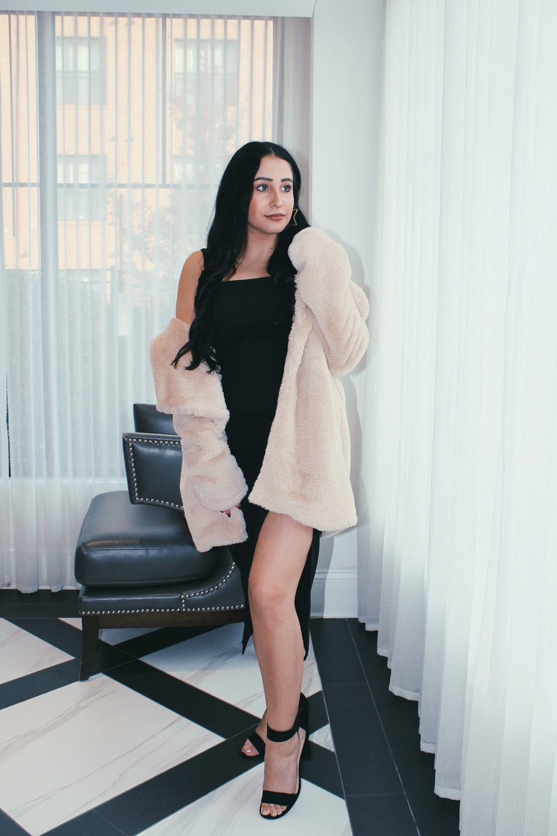 Faux Fur Open Coat - Sand