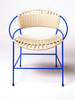 BLUE & NATURAL WOVEN DINING CHAIR