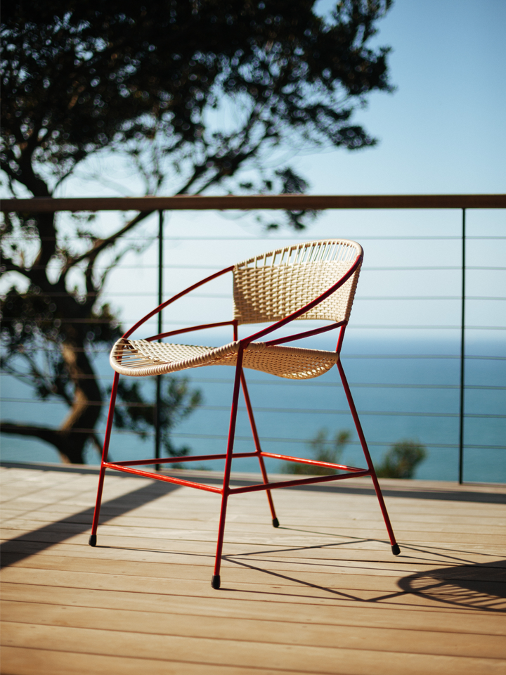 RED & NATURAL WOVEN DINING CHAIR