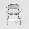 BLACK AND WHITE WOVEN DINING CHAIRS