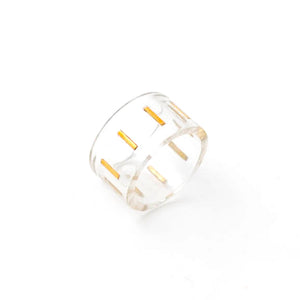Orotrasparente Baguette Ring with Gold