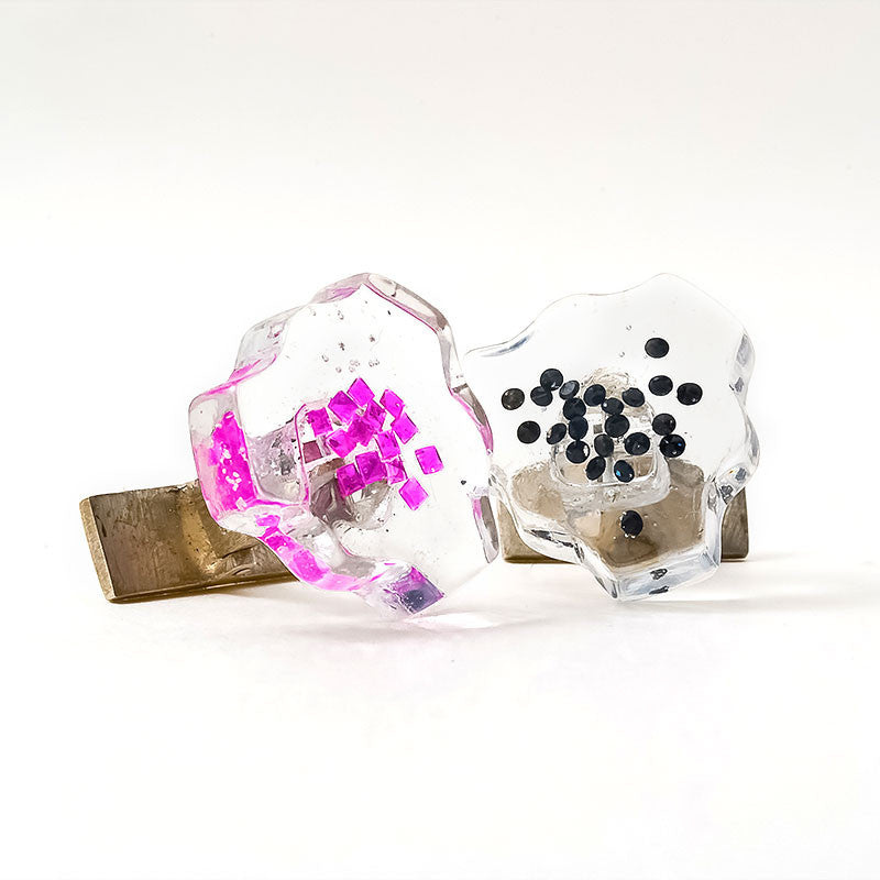 Orotrasparente - Cuff link - Rubies and Black Diamonds